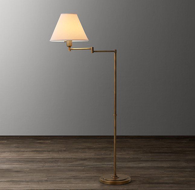 Rh Baby Amp Child 39 S Ellis Swing Arm Floor Lamp With Shade Antiqued Brass A Study In Simplicity Wi Swing Arm Floor Lamp Floor Lamp Traditional Interior