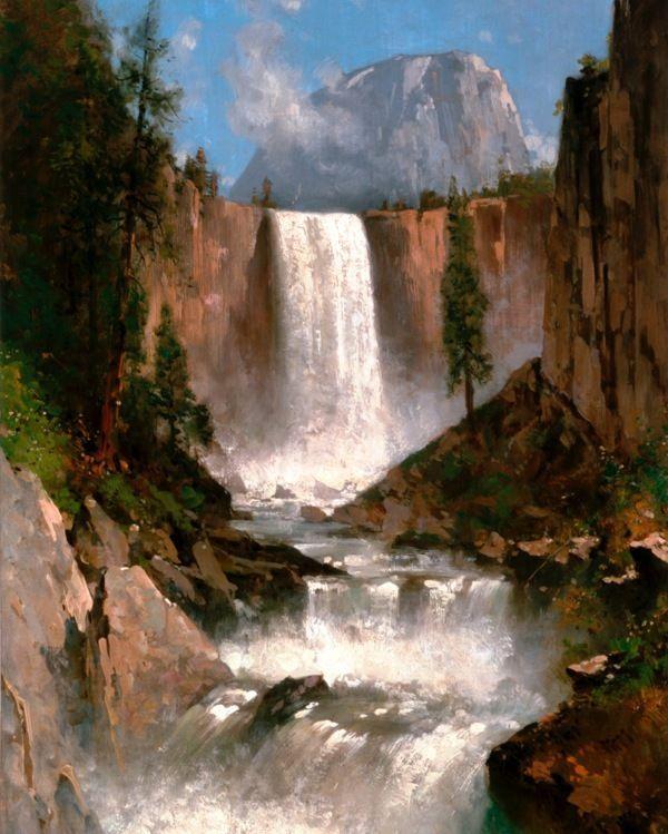Paintings Of Yosemite National Park: Yosemite Park Half Dome Vernal Falls Painting Art 8X10