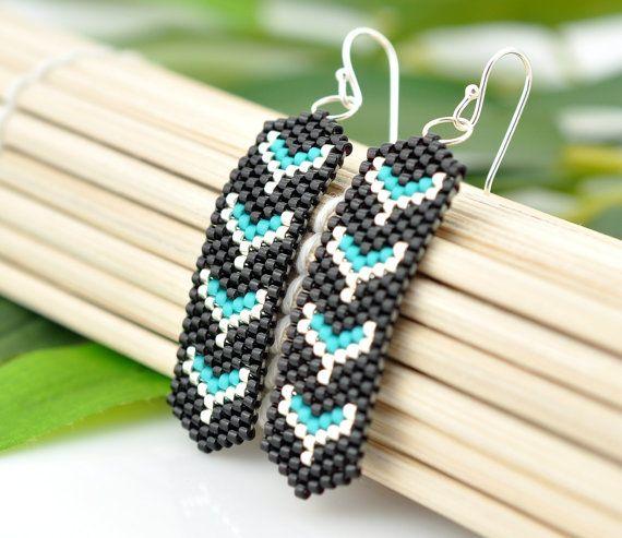 Tribal inspired beaded earrings - black silver turquoise ...