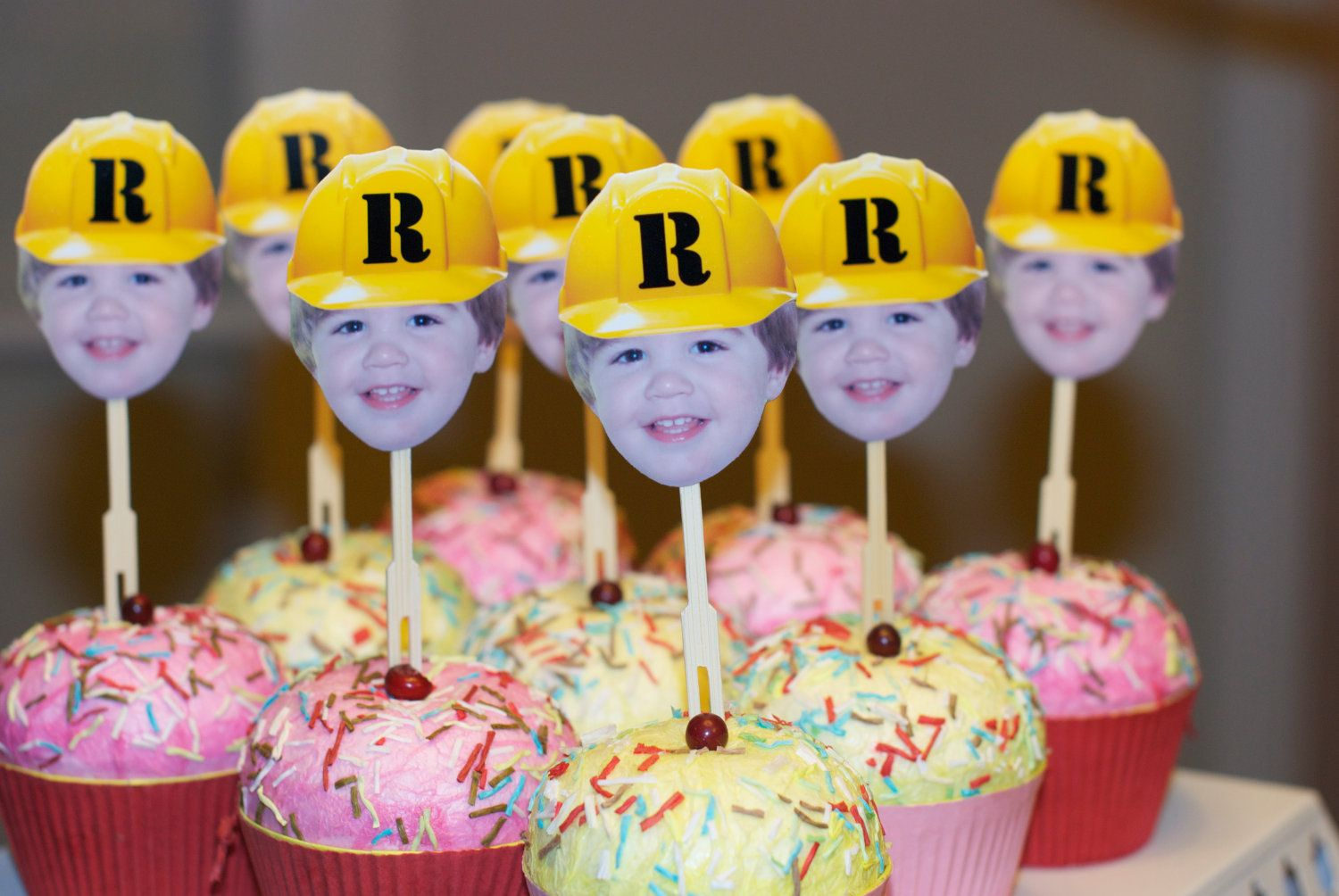 Photo cupcake toppers with construction hat by bugandboo on Etsy, $20.00