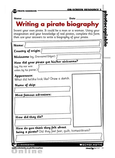 Pirate biography Pirate Theme Pinterest Teaching ideas - biography template