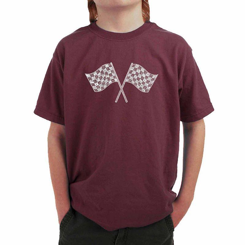 1bea2537 Los Angeles Pop Art Nascar National Series Race Tracks Boys Crew Neck Short  Sleeve Graphic T-Shirt-B