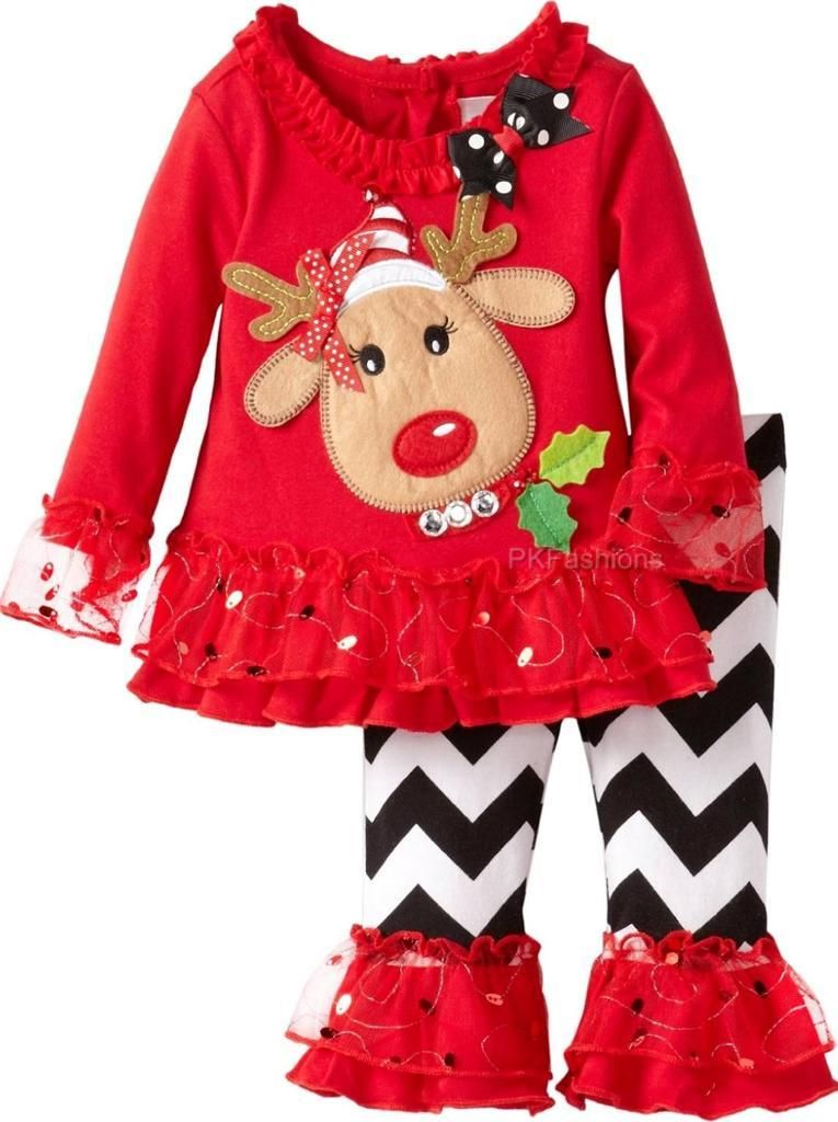 NEW-Girls-034-RED-amp-BLACK-CHEVRON-RUDOLPH-034-Size-4T-4-Top-Pant-CHRISTMAS-Clothes-NWT