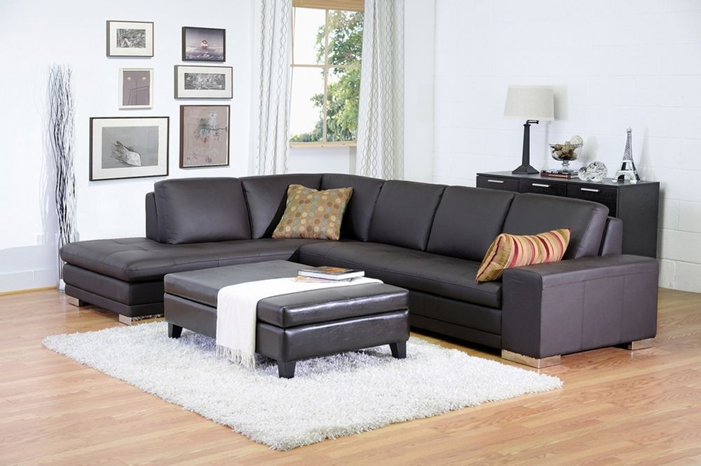 Callidora Brown Leather Sectional Sofa With Left Facing Chaise