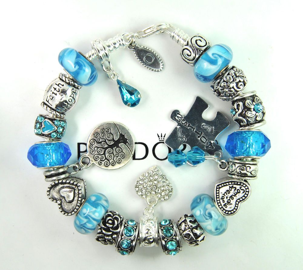 Authentic Pandora Silver Charm Bracelet With European Charms Mom Autism Puzzle Pandobsterclaspclaw
