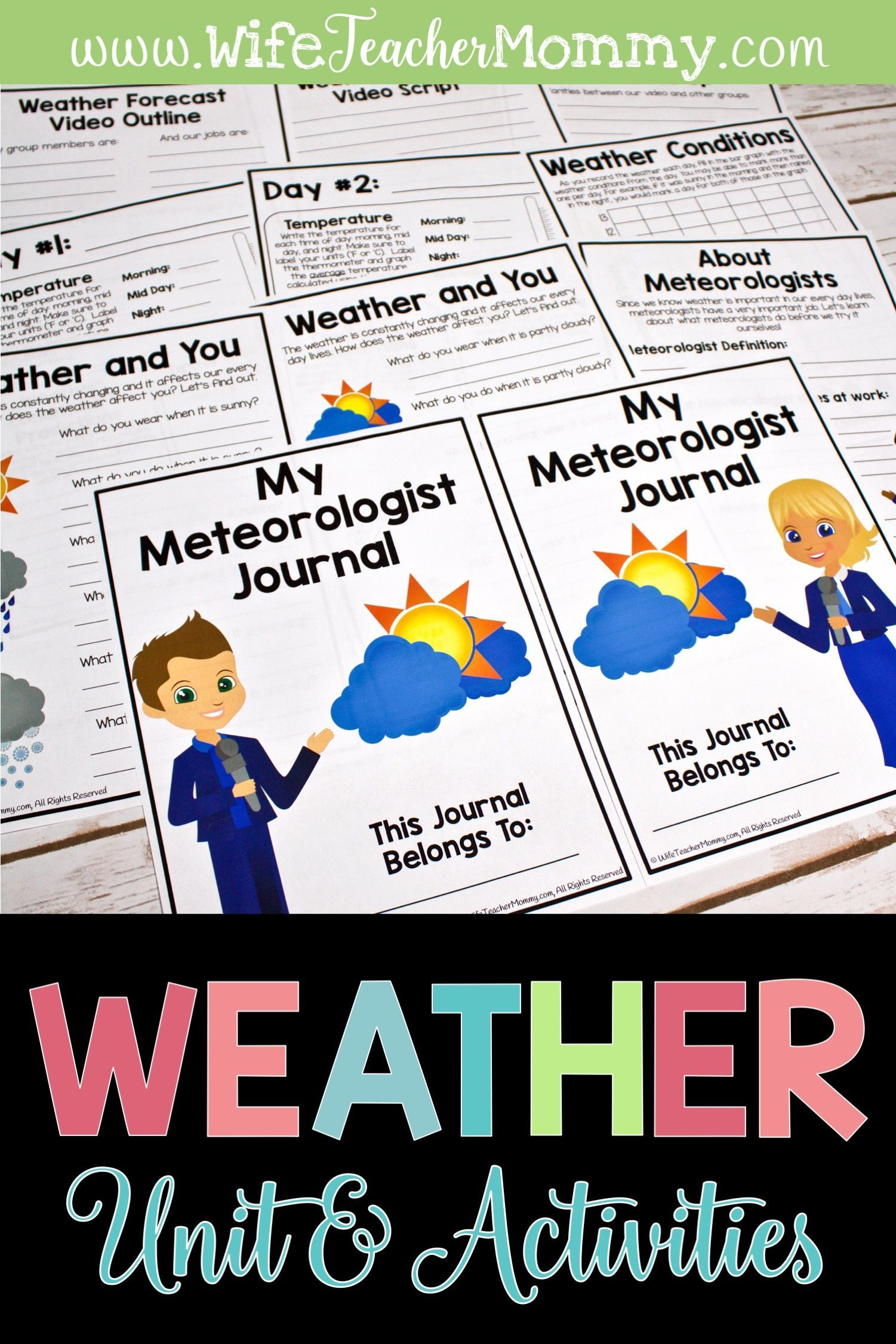 Weather Unit Worksheets Journal And Weather Activities
