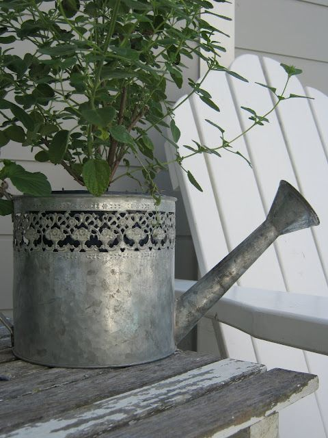 pretty zinc watering can