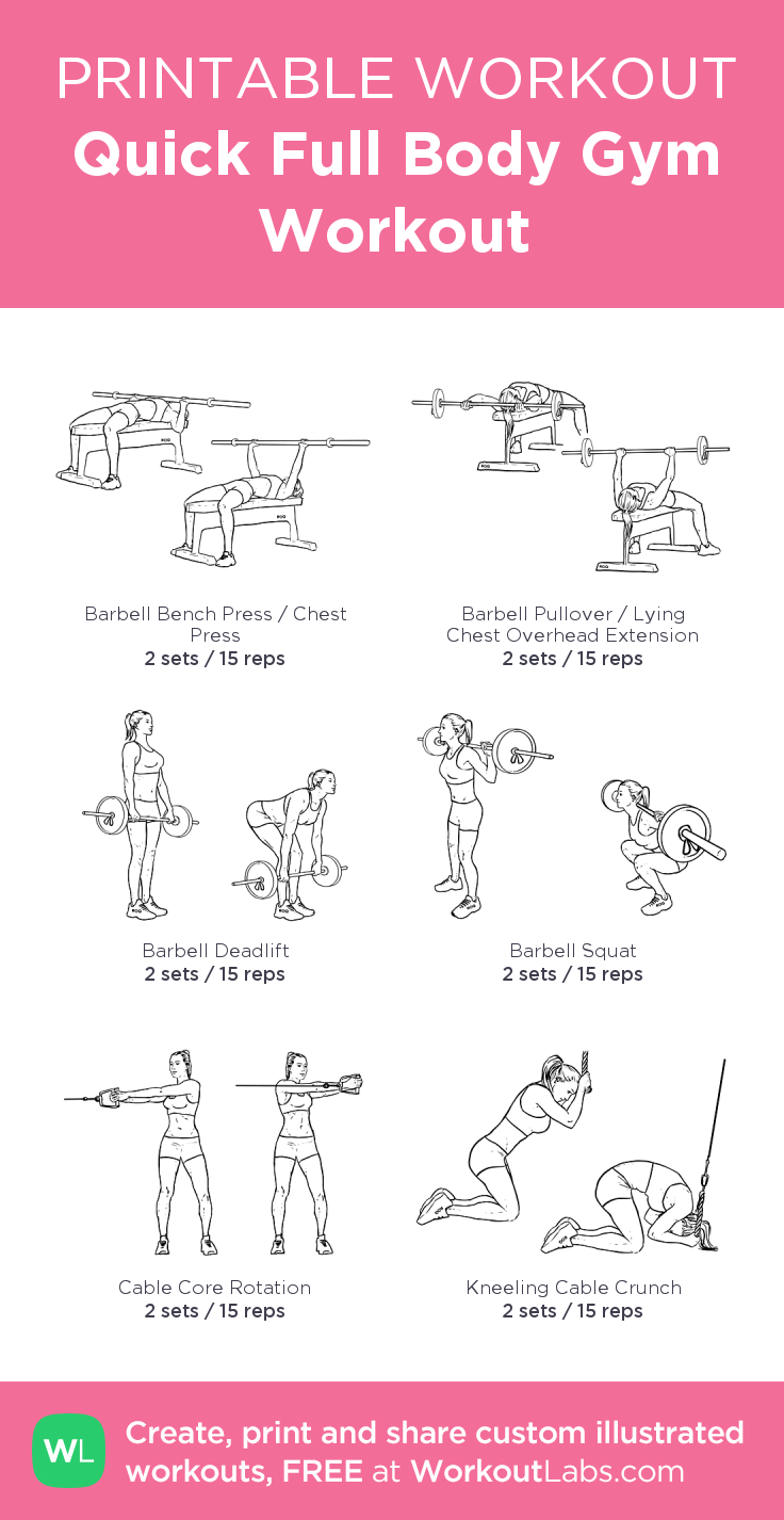 Quick Full Body Gym Workout:my visual workout created at WorkoutLabs.com • Click through to customize and download as a FREE PDF! #customworkout