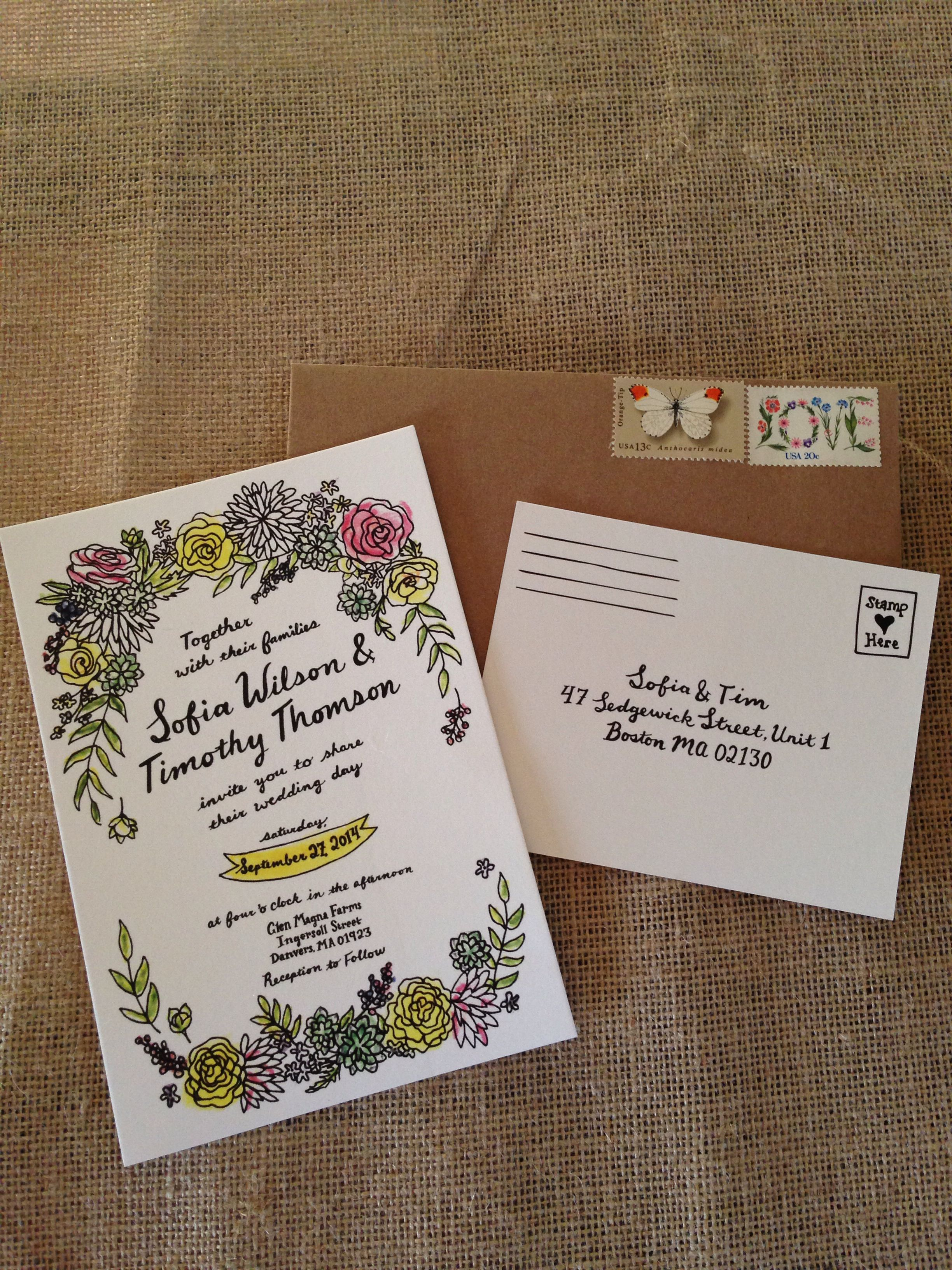 Invitations of Wedding  Same style and font for guest book and entrance welcome sign .