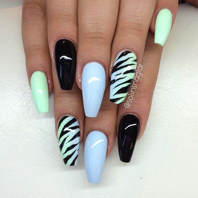 Pastel Black Zebra Nails Just Not In That Nail Style