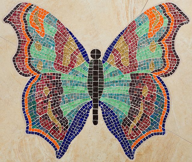 Mosaic butterfly art mosaic animals my likables for Mosaic art pictures