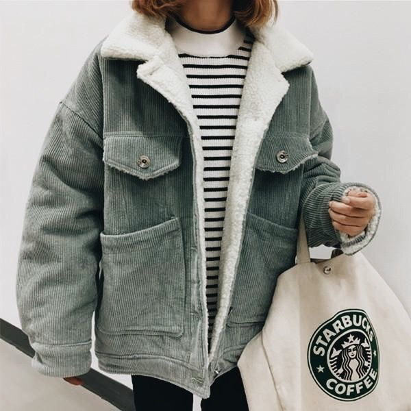 407a64c8e Gray corduroy jacket with cozy shearling lining. | Fashionista in ...