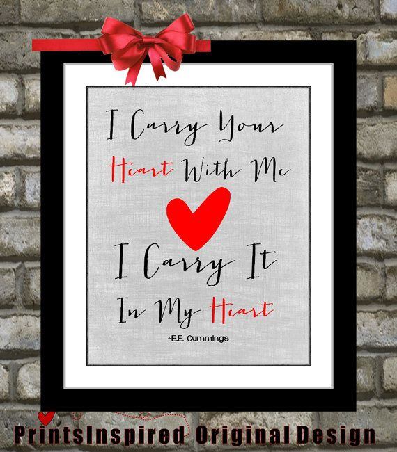 I Carry Your Heart With Me Quote Art Long by Printsinspired, $15.00 ...