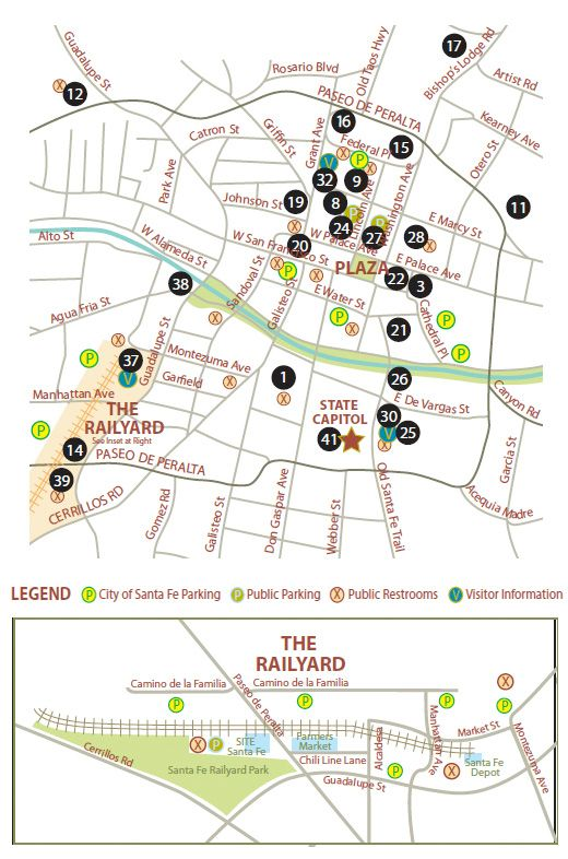 Santa Fe Canyon Road Art District and Santa Fe Art Gallery Maps
