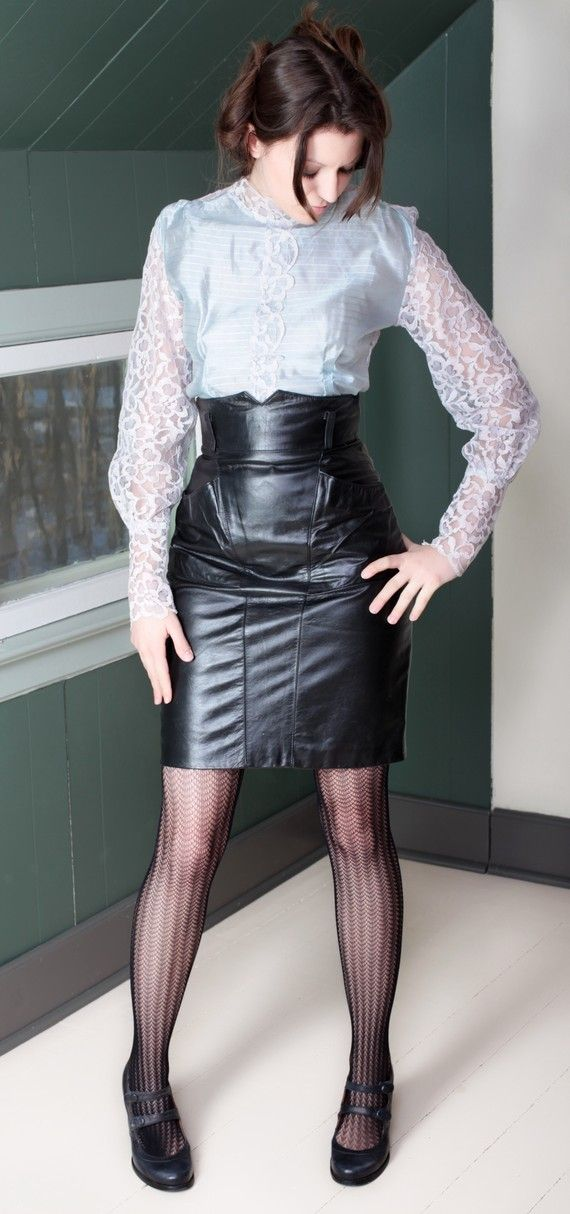 Butterfly! Sexy Black High Waisted Leather Skirt, this is a ...
