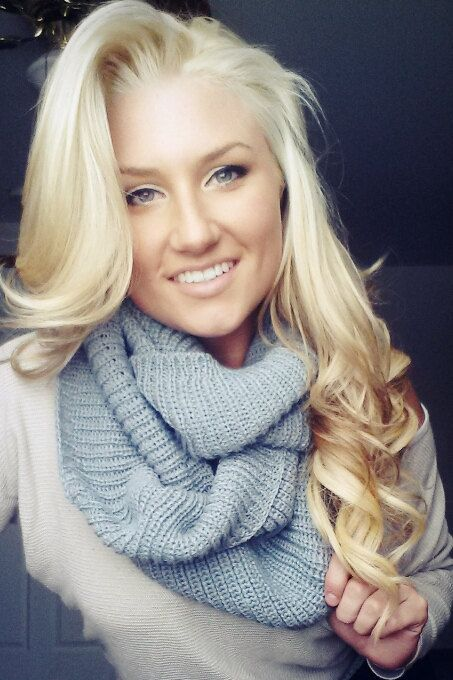 Grey Knit Scarf Infinity Blonde Hair Perfect Curls Make Up