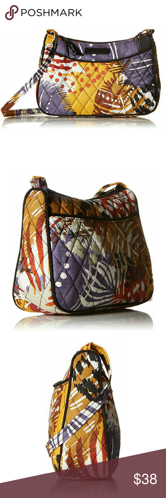 49465672ef58 Vera Bradley Painted Feathers Crossbody Surprisingly roomy little crossbody  bag with zip pockets and card slots