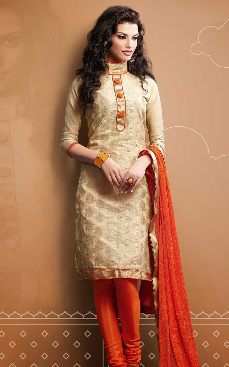 CREAM & ORANGE CHANDERI COTTON SALWAR KAMEEZ - RUD 43002A | kurtis ...