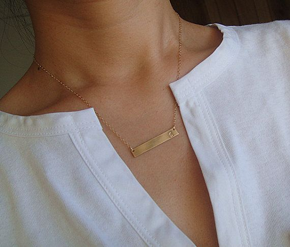 Personalized Gold Bar Necklace Initial Gold Bar by JZCollection, $21.00