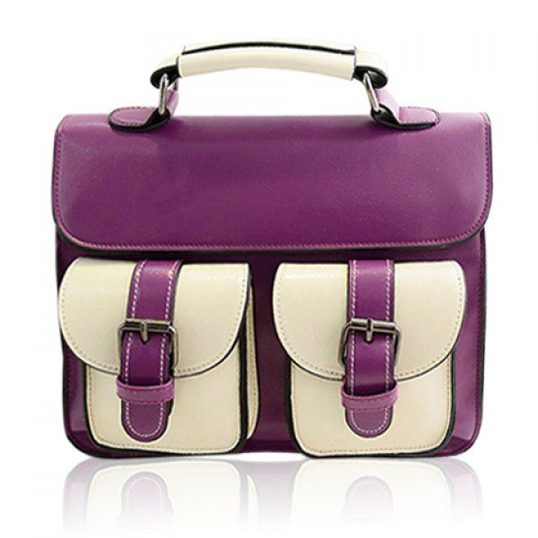 Vintage Color Block and Buckle Design Tote Bag For Women, PURPLE in Tote Bags | DressLily.com
