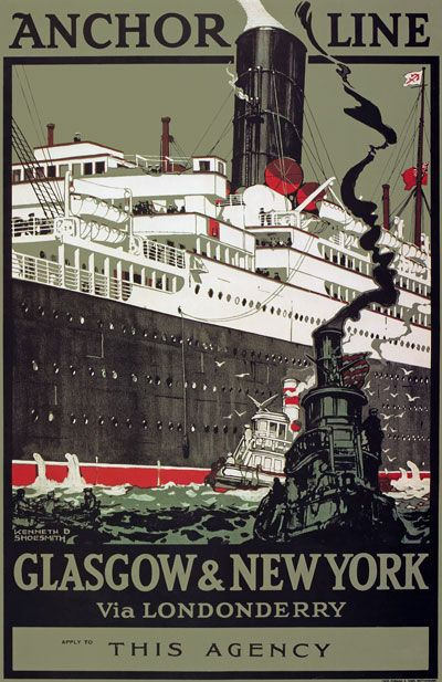 glasgow vintage travel | TX196 Vintage Anchor Line Glasgow New York Shipping Travel Poster ...
