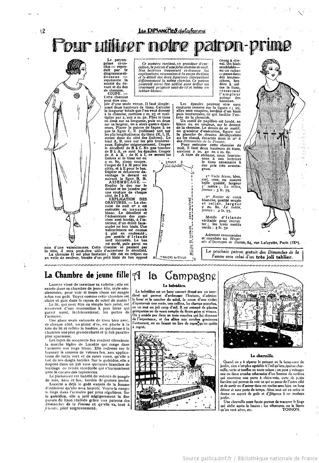 1920\'s Vintage Sewing Pattern.Les Dimanches de la femme : 1922/04/23 ...