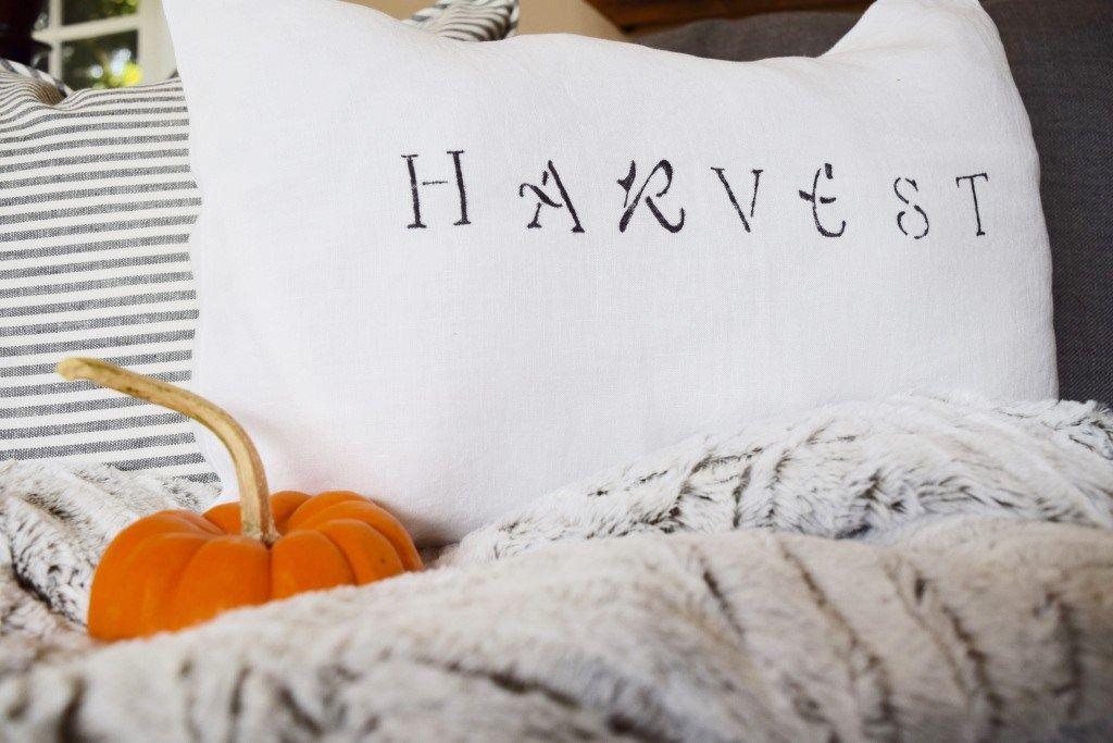 Stenciled Sentiment Pillow | Karen's Up on the Hill