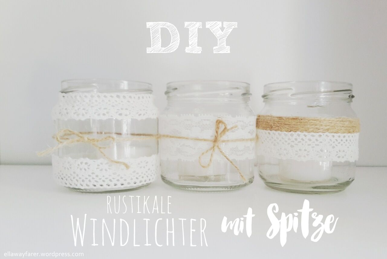 diy rustikale windlichter mit spitze teelicht glas gl ser boho garten kerzen licht. Black Bedroom Furniture Sets. Home Design Ideas