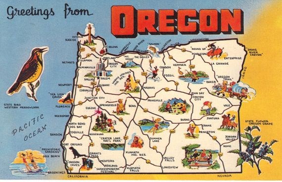 Greetings From Oregon State Map Vintage by heritagepostcards, $2.75 ...