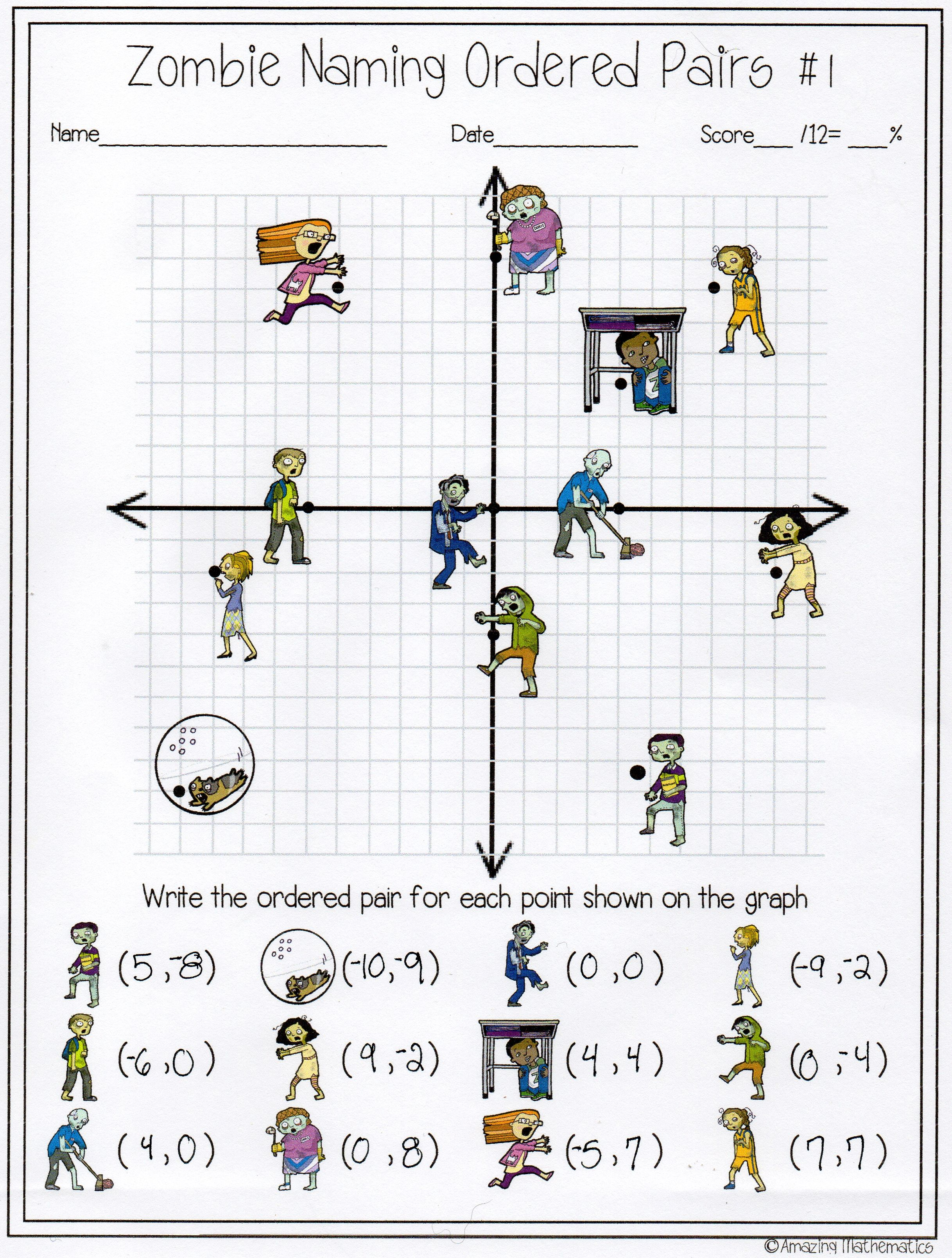 worksheet Ordered Pairs Worksheet 5th Grade zombie naming ordered pairs worksheet math students and activities worksheet