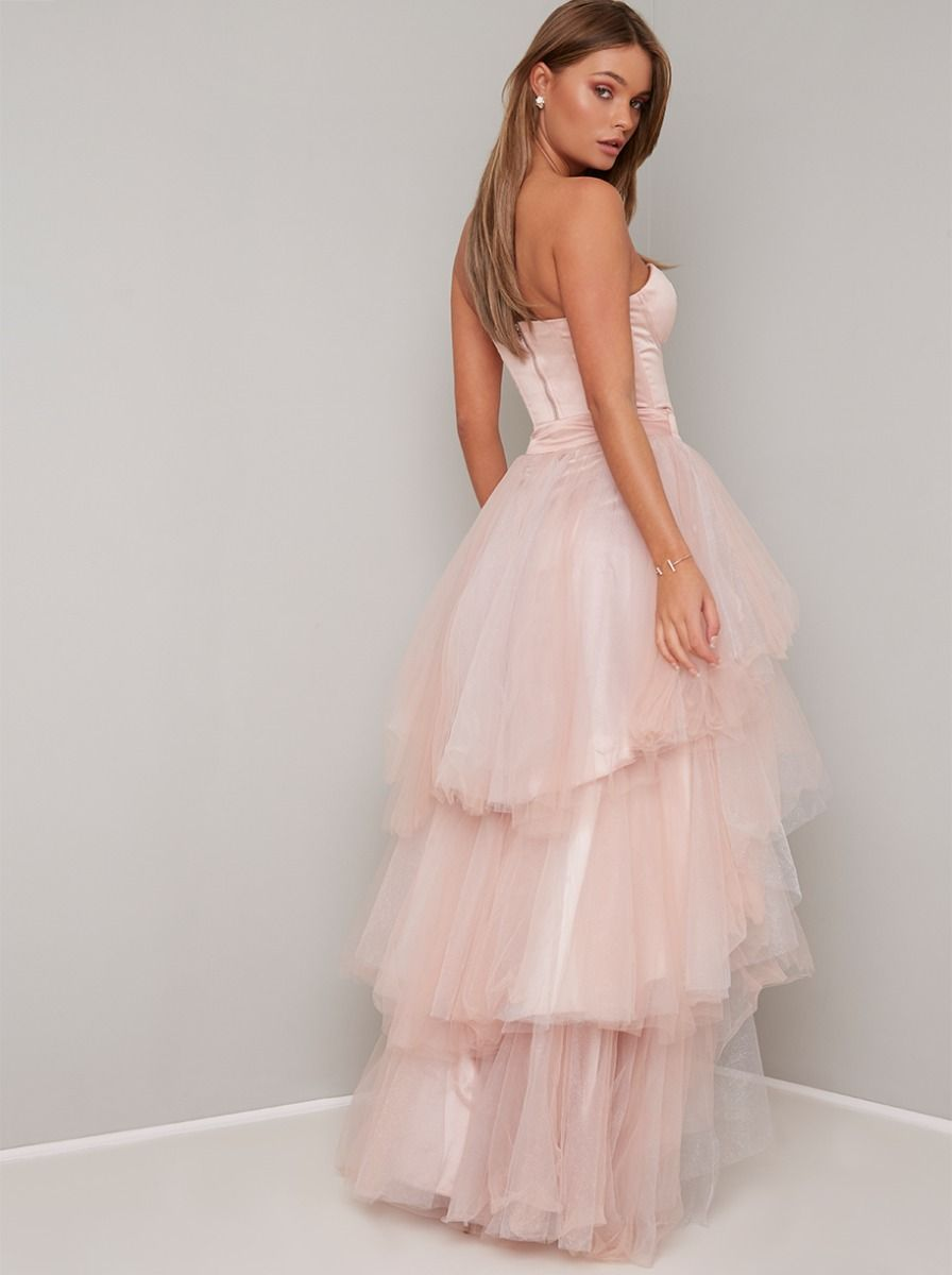 Adorn Lavender Lace Strapless Midi Dress | Strapless midi