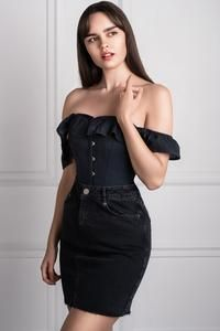 black cotton straight bustline corset top with off the
