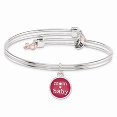 "Baby Shower Gift Idea for Mom | Pink ""mom [heart] baby"" charm bangle 