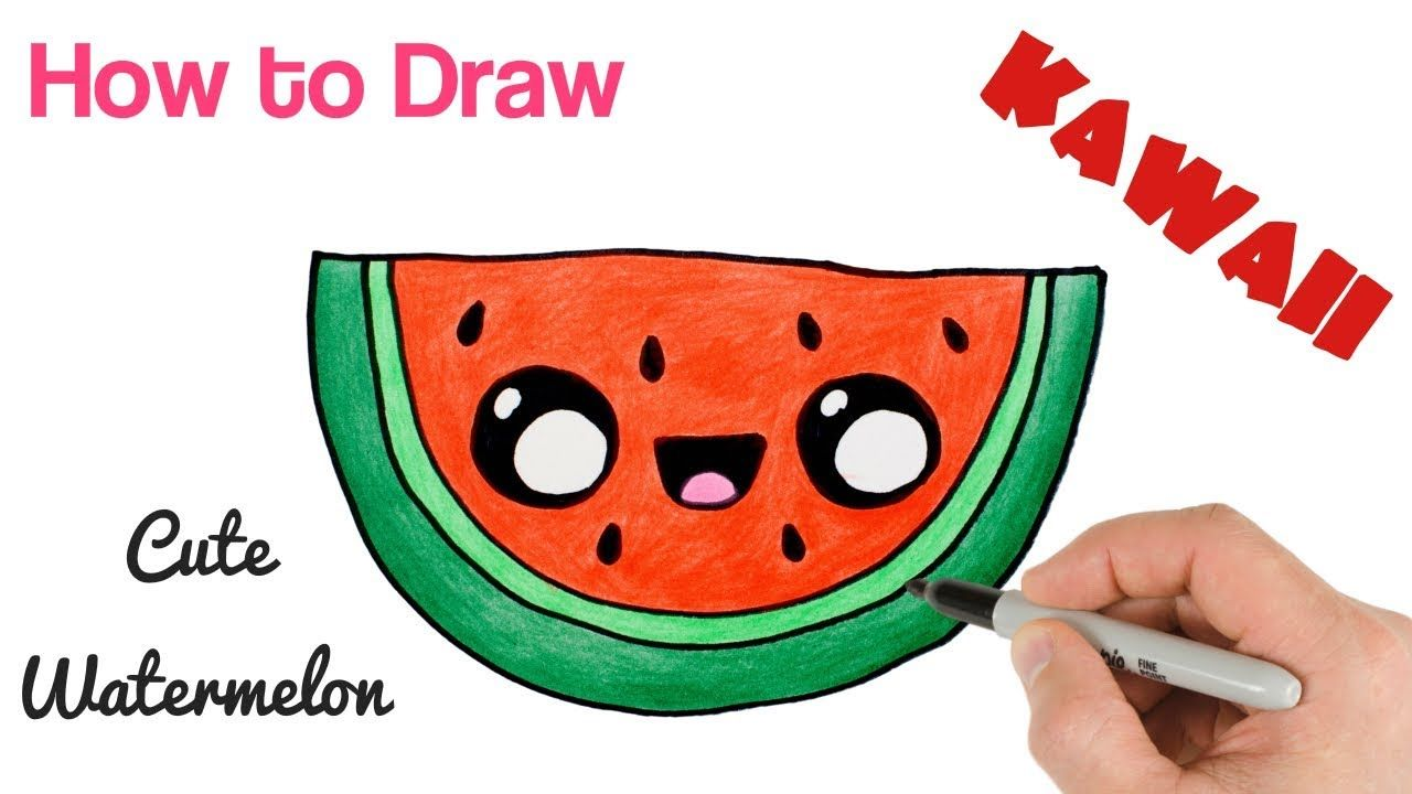 How To Draw A Watermelon Cartoon And Cute Super Easy Watermelon Cartoon Kawaii Drawings Cute Drawings