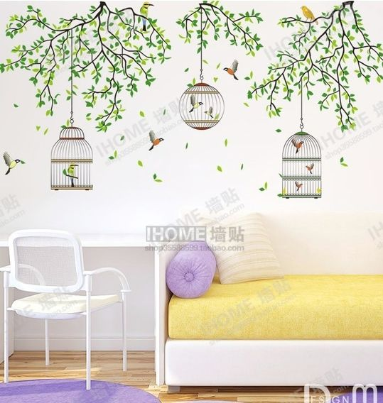 large green forest birdcage wall stickers decals birds tree branches