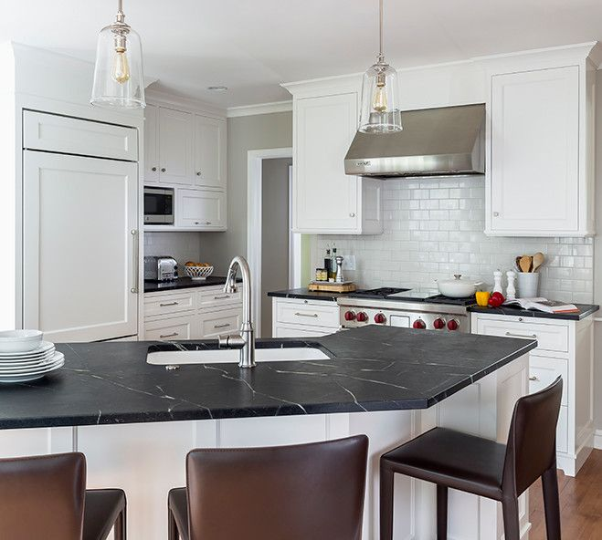 White Kitchen Cabinets With Black Counte: White Shaker Cabinets, Shaker Front Cabinets, Black Soapstone