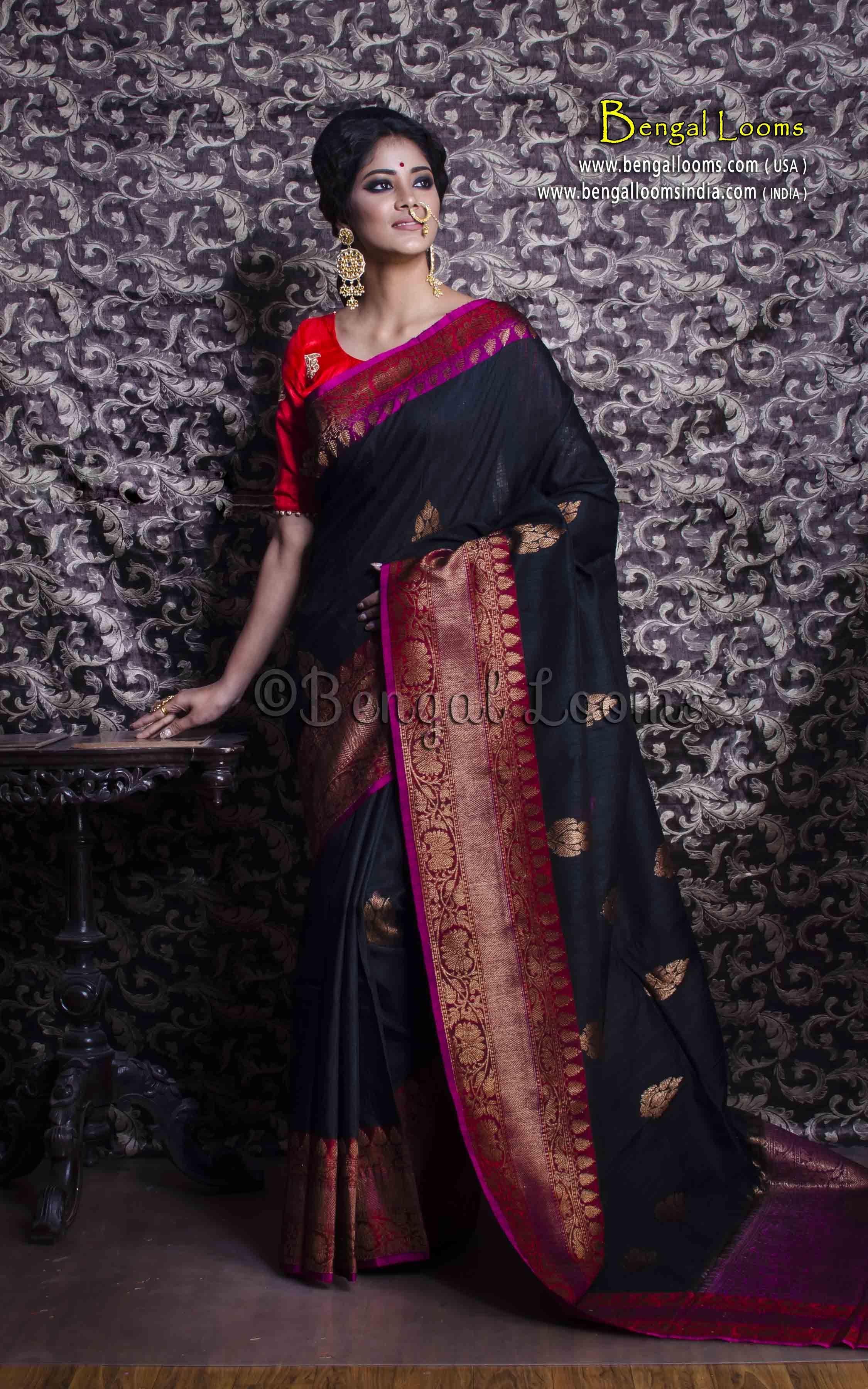 fee80bcd28 Pure Handloom Tussar Silk Banarasi Saree in Black, Maroon and Antique Zari