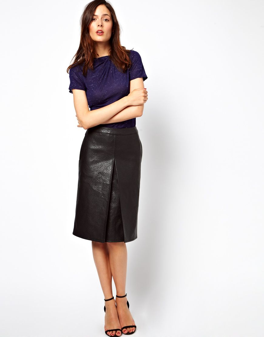 2123a794c3f8 Asos A Line Skirt In Leather Look | Saddha