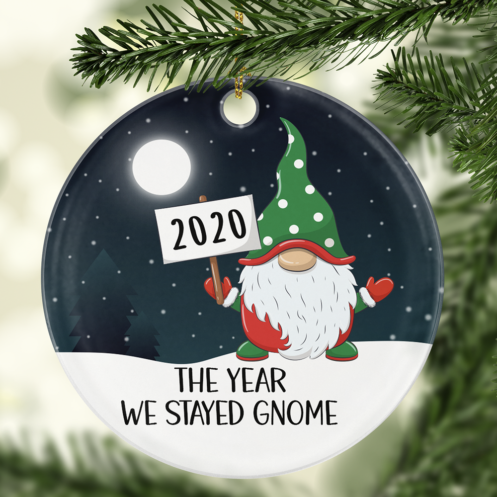 2020 The Year We Stayed Gnome Ornament Christmas Ornaments Christmas Ornament Crafts Wood Christmas Ornaments