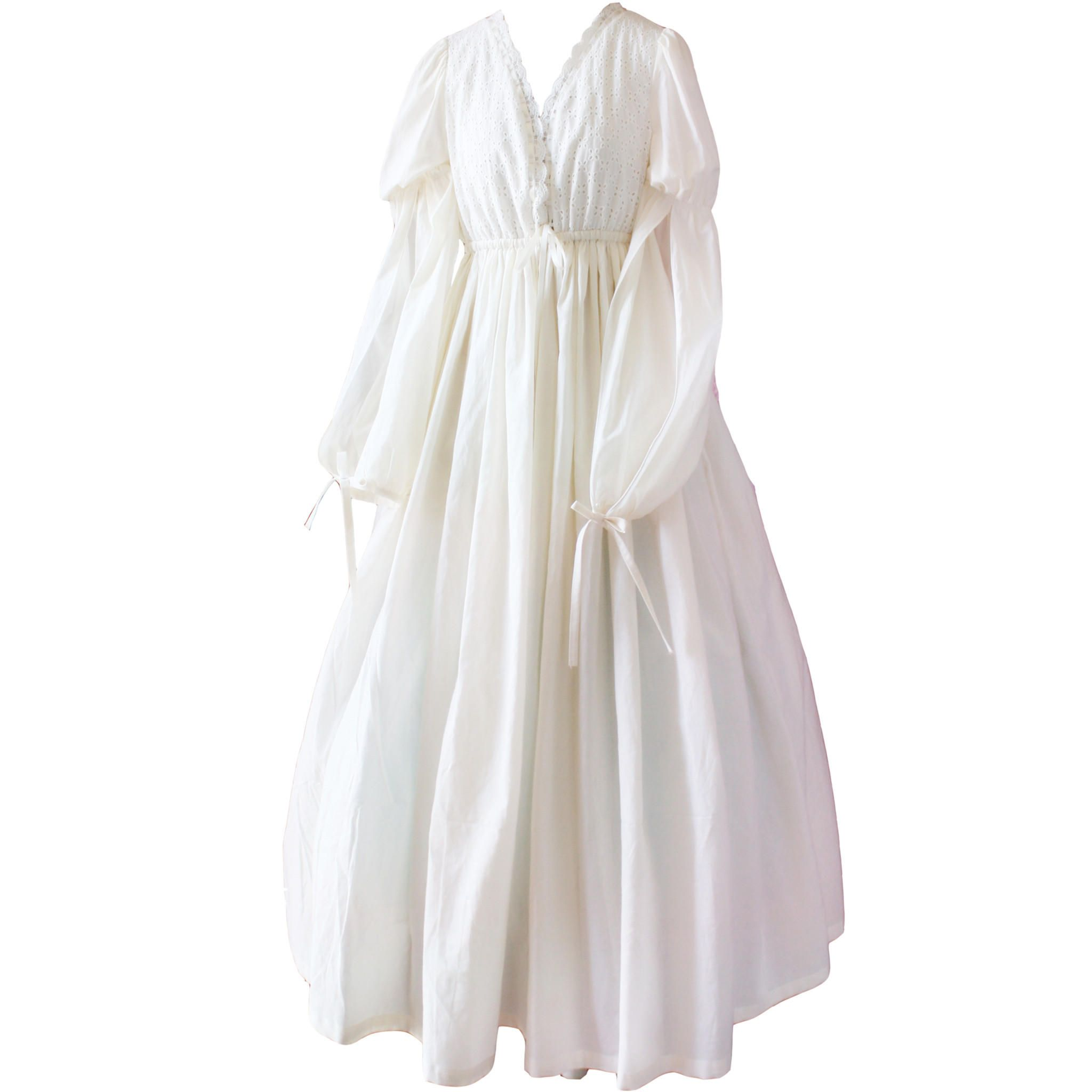 Vintage sexy sleepwear women cotton medieval nightgown white vneck