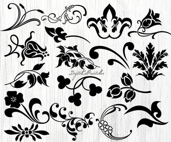 digital floral clipart flourish clipart flower clipart design Floral Drawing Designs digital floral clipart flourish clipart flower clipart design elements digital swirl clipart flouris