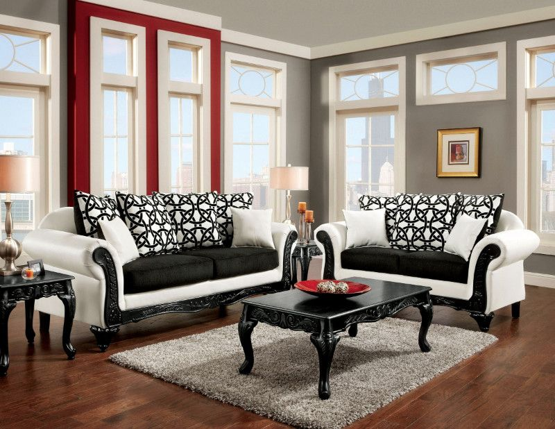 SM7600 2 pc dolphy two tone black fabric white leatherette sofa and