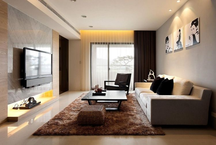 Delightful Home Design, Modern Living Room Decor Black Table Brown Fur Rug White Sofa  Tv Hand Chair Painting Grey Wall Tile Curtain Door Window Ceramic Floor And  Many ...