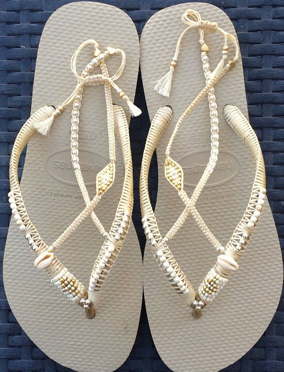 5b413985e Silver   Gold Wedding Decorated Flip Flop