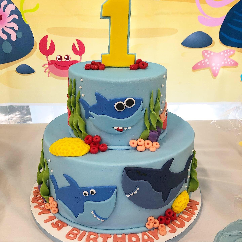Baby shark themed birthday party inspiration decoration
