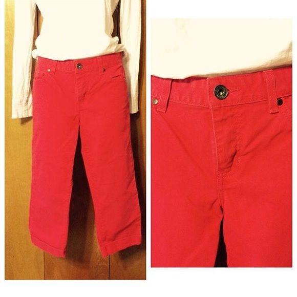 "Calvin Klein Denim Capri pants Red denim capris. Waist 15"", rise 8"", inseam 20"". Calvin Klein Pants Capris"