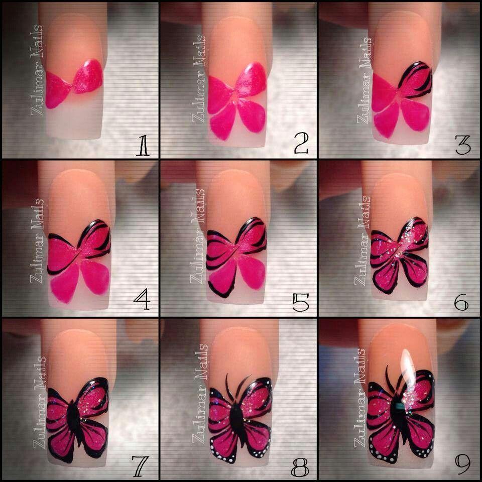 Uñas mano alzada   Diseños de uñas mariposas, Manicura de ...