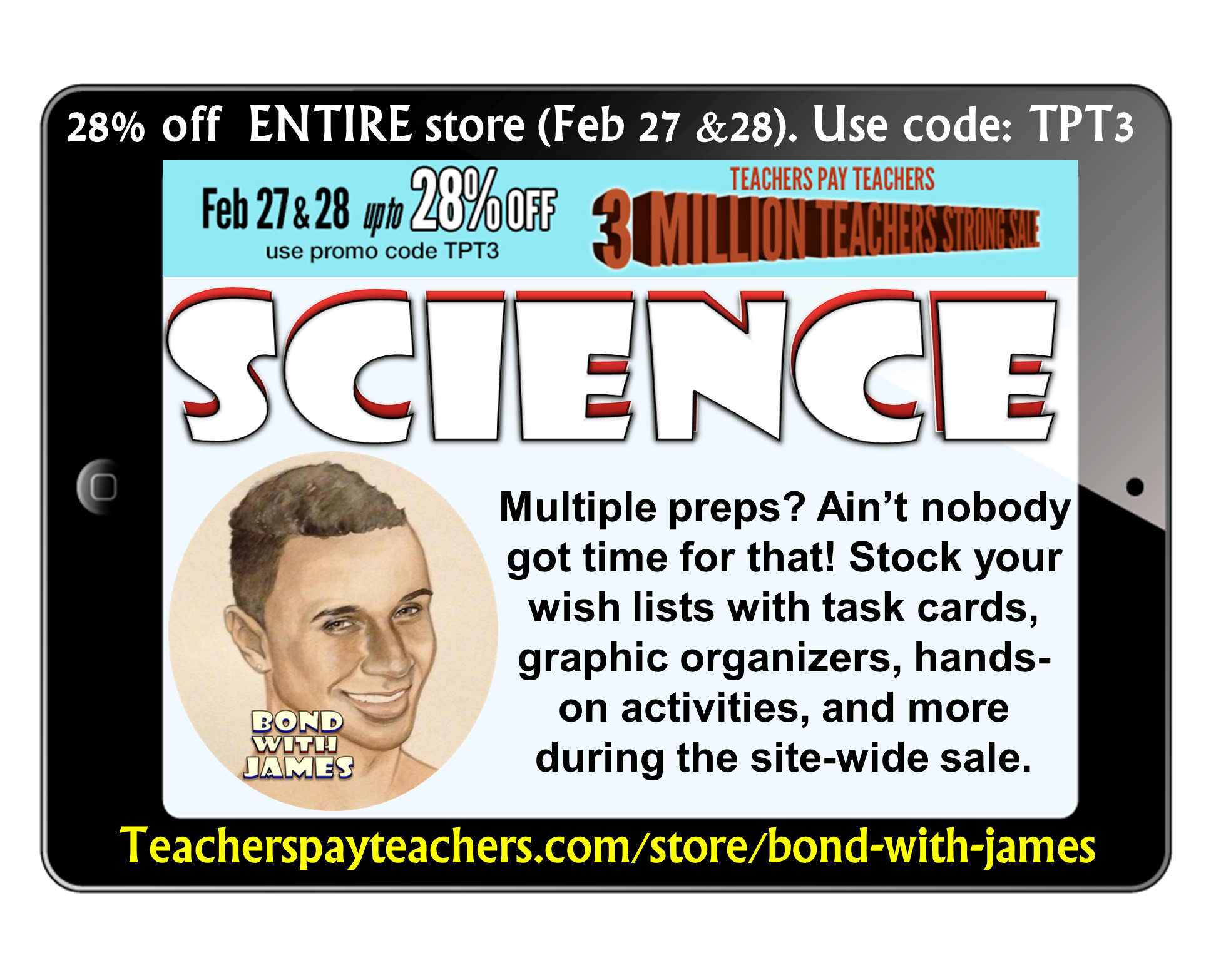 Get that wish list ready! Stock up on your supply of secondary science materials. My entire store will be 28% off during 2/27/14-2/28/14.