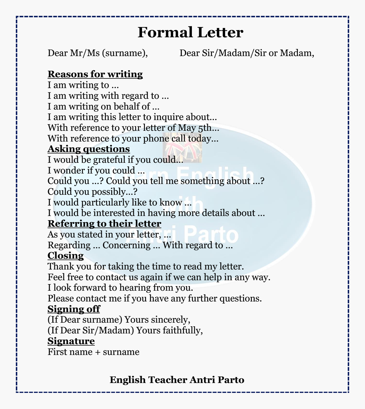 Grammar + Letter Writing Resource #learnenglish