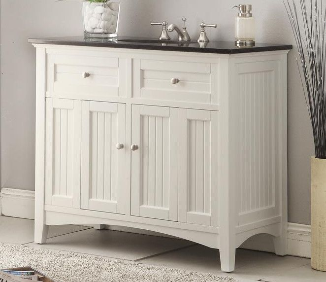 Beadboard Bathroom Vanity White